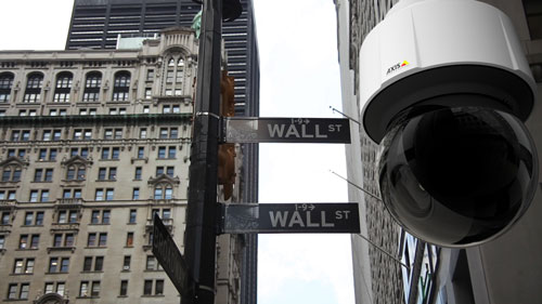 Axis Q61 Series IP Camera on Wall Street