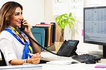 Woman on Polycom VVX 450